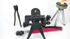 There are various types of tripods. Stop motion. Stock Footage