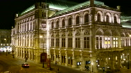 Stock Video Footage of Vienna State Opera at night