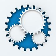 Gear paper cutout infographic with copyspace - stock illustration