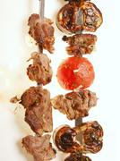 Grilled meat  spit Stock Photos