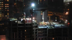 Construction of the building at night. Time lapse. Stock Footage
