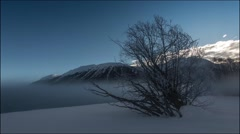 Fog in the winter mountain (time-laspe) Stock Footage