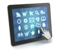 Clicking on a tablet with touchscreen interface, 3d render - stock illustration