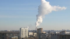 View of district with pipes factories, of which there is smoke Stock Footage