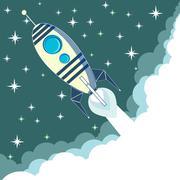 Space rocket in flight, vector illustration - stock illustration