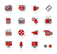 Multimedia Icons // Redico Series - stock illustration
