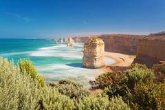 Twelve Apostles in Australia, long exposure Stock Photos