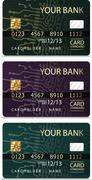 Set of 3 credit cardsiv PCB-layout style. Stock Illustration