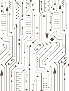 Abstract circuit in PCB-layout style with arrows Stock Illustration
