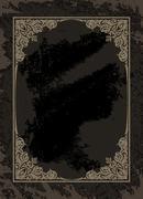 Vintage frame on the grunge dark background - stock illustration