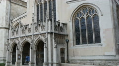 The white and old Westminter Abbey church in London Stock Footage