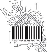 Bar code in PCB-layout style. Vector illustration. Stock Illustration