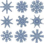 Set of snowflakes in PCB-layout style - stock illustration