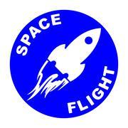 Space flight round icon Stock Illustration