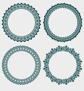 Set of 4 elegant round frames Stock Illustration