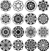 Ornamental round floral decors. Set of 16  ornaments. Stock Illustration