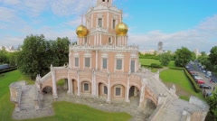 Church of Intercession in Fili against cityscape with skyscrapers Stock Footage