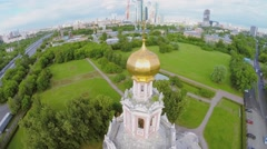 City panorama with street traffic near temple Pokrova in Fili Stock Footage