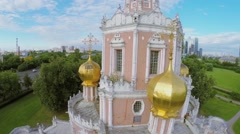 Exterior with crosses on golden cupolas of temple of Intercession Stock Footage