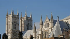 The top view of the Westminster Abbey church in London - stock footage