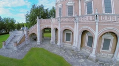 Edifice with staircases of church Pokrova in Fili at summer day. Stock Footage