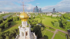 Temple of Intercession in Fili against cityscape Stock Footage