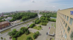 Car traffic on embankment near edifice of design department Stock Footage
