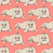 Sketch fancy walrus in vintage style - stock illustration