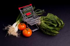 Chopping Cart with vegetable Stock Photos