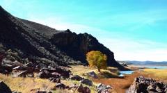 Autumn Rocky Canyon Blue Sky Lake Stock Footage