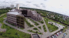 Urban sector with diagnostic clinic at summer cloudy day Stock Footage