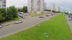 City traffic on Aviatorov street in Solntsevo at summer day Stock Footage