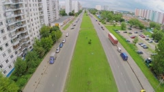 Transport traffic on Aviatorov street at summer day in Solntsevo Stock Footage