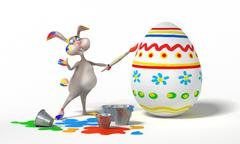 Funny Easter Bunny paints on eggs on white background. Holiday  illustration Stock Illustration