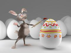 Funny Easter Bunny paints on eggs. Holiday  illustration Stock Illustration