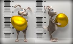 Stock Illustration of Funny Easter rabbit with big gold egg in police.