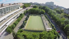 Cityscape with playground near edifice of sports complex of MGTU Stock Footage