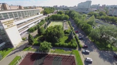 Townscape with playgrounds near edifice of sports complex of MGTU Stock Footage