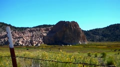 Cattle Grazing Among Sagebrush, Beneath Red Rocks Stock Footage