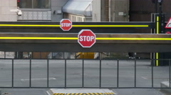 Stop sign from the check point on London street - stock footage