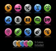 Wireless and Comunications Icons // Gel Color Series Stock Illustration