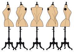 Vintage fashion mannequins, vector set Piirros