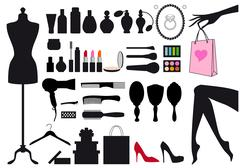 fashion and beauty, set of vector design elements - stock illustration
