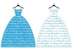 wedding dress with text something blue, vector illustration - stock illustration