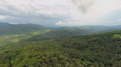 Mountain scape with forest at summer cloudy day. Aerial view Stock Footage