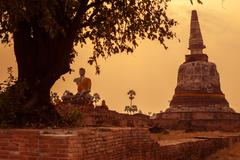 Thai temple sunset, the historical temple in Ayutthaya, Thailand Stock Photos