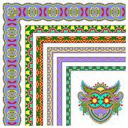 Floral vintage frame design. Vector set. All components are easy Stock Illustration