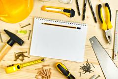 Planning a Project in Carpentry and Woodwork Industry Stock Photos