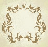 Floral frame with crown. Stock Illustration