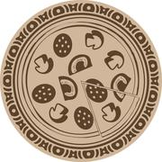 Pizza into decorative round frame Stock Illustration